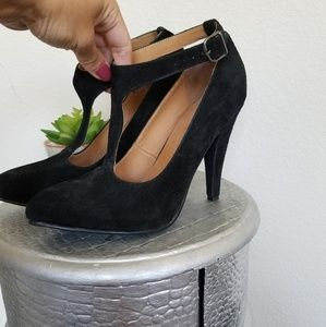 Shoes - BLACK LEATHER SUEDE HEELS PUMPS MARY JANE 38